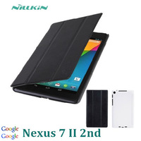 "New Smart Cover For Google Nexus 7 II 2 7"" Leather Cover Original Nillkin Case White Black With Retail Package+Screen protector"