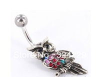 2013 hot sale fashion body jewelry belly piercing romantic model with crystal fashion owl design free shipping