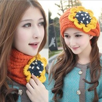 Winter Fashion Candy-colored scarf dual millinery hat knitted hats ear warm caps for women Free shipping