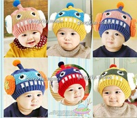 Free shipping 2013 Autumn Winter Children warm hat boy girl Robot warm cap Baby hat winter 6 pcs/lot