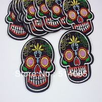 free shipping 10pcs Embroidered Cloth Iron On Patch Sew Motif Applique The skull head