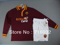 Roma FC Home Long Sleeved Jersey 2014,Jersey and Shorts,Free Shipping,TOTTI,Pjanic,DE ROSSI,Benatia,Florenzi,Maicon