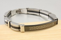 Top Quality Men's Stainless Steel Bracelets Black Rubber Bracelet Free Shipping
