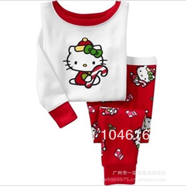 Free shipping Winter Babys hello kitty Sleepwear Cotton Boys Pyjamas Girls Clothing Sets baby girl Underwear kids pajama sets(China (Mainland))