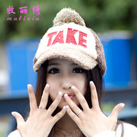 "5pcs, Winter Stuffed Letters"" TAKE"" baseball caps snapback hats Ladies fashion warm caps women hat  5colors free shipping"