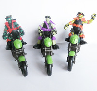 Classics anime Teenage mutant ninja turtles Raphae+Mikey+Donatellol with fighting motorcycle action figure for children gift