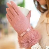 Han Guoqiu warm winter women short paragraph mouth cute rabbit thick cashmere wool gloves Gloves