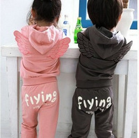 Fress shipping 5 pieces/lot Baby Kids Clothing Children's 2pcs Sets boys girls flying Angel wings Set fashion sports suit