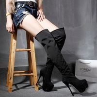 Winter new arrival boots 16cm high-heeled boots rhinestone fashion over-the-knee tall boots
