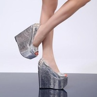 Banquet high-heeled wedding shoes high-heeled shoes wedges open toe shoe 16cm ultra high heels formal dress high-heeled