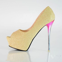 Open toe shoe 2013 14cm princess high-heeled shoes sexy platform thin heels single shoes female