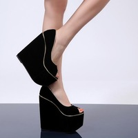 Fashion fashion open toe high-heeled 16cm wedges single shoes super-elevation women's shoes autumn platform