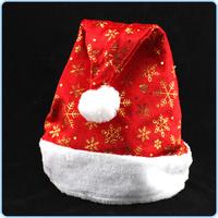 Soft Christmas Cap Adult Christmas Hats Santa Hats Snowflake Printing Hats Red Color