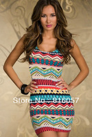 Women Dresses New fashion 2014 feminina Mini Dress Ethnic print Sexy bandage sexy ropas vestidos de festa New Arrival