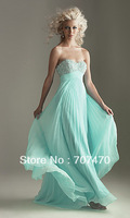 Elegant mint blue long wedding events evening dress formal dress with high quality beadings customized
