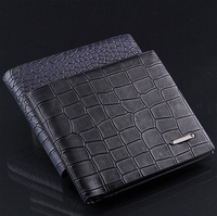 Genuine leather men fashion Crocodile line short wallets brand casual purse men leather bag free shipping
