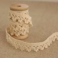1 Yard 1.3cm Lovely Designed Cotton Lace Embroidery Beige Lace Trim Ribbon No. L1