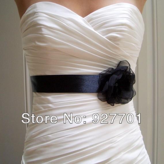 Sash bridal sash women dress sash with flower pearls black champagne