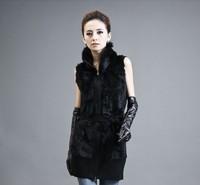 2013 new winter wool knit cardigan vest ladies vest rabbit fur jacket and long sections