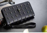 Embossed Black Punk Skull Wallet for Women Girls Long Design Zipper Purse Pocket  Handbag for Money  Card Places Halloween 5pcs