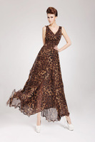 2013 New Fashion lady  silk chiffon dress women grace brief leopard print V-Neck slim long flounced  Dresses beach wear