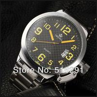 Free Ship,2013 New 52MM Case Russian StyleORKINA Military Marine Date Yellow NO. Black DialStainless Steel Band Mens Wrist Watch