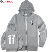 Czech Pavel Nedved Juventus soccer team cardigan sweater jacket zipper