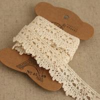 1 Yard 2.2cm Lovely Designed Cotton Lace Embroidery Beige Lace Trim Ribbon No. L1