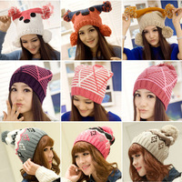 Fashion  striped hats wool knitted beanies for women  Winter Skullies caps 15kinds 5pcs/lot free shipping