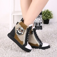 Free shipping GZ wedge sneakers Gold tone Hardware White Black spring 2014 autumn ankle boots real leather women's casual shoes