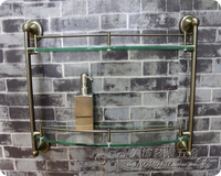 Fashion bathroom rustic antique brass double layer glass shelf dresserstaring glass