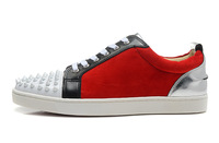 Size:36-46 Men Low Top Design Red Bottom Sneakers,New Leopard Print Red Suede Black Leather Spikes Toe Sneakers,Flat Sport Shoes