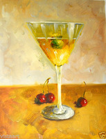 "Oil Painting On Canvas 12""x 16"" -Martini"