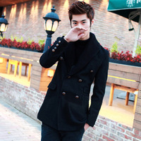 2013 double layer collar wool coat double breasted wool yarn collar overcoat
