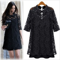 2013 new spring female fashion hollow dress shirt women's half sleeve turn-down collar slim crochet lace one-piece dress twinset