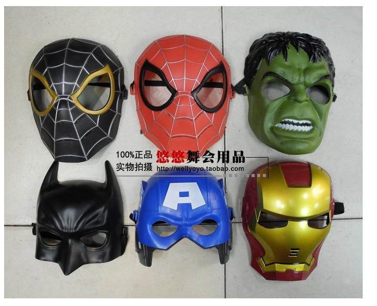The Avengers superheroes csoplay Captain America Iron Man Hulk Spiderman Batman Thor mask helmet for kid Birthday Christmas Gift(China (Mainland))