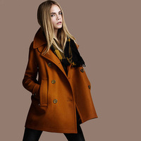 FREE SHIPPING 2013 new spring autumn winter fashion double breasted coat ladies wool jacket outerwear overcoat plus size trench