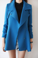 Luxury vogue of new fund of 2013 autumn winters is pure color wool blended trench coat for women coat, S - XXL in black/blue