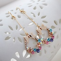Free Shipping New Fashion Multicolor Drop Earrings 18k Gold Plated Bow Shaped Dangling Drop Earrings Women's Rhinestone Earrings
