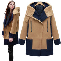 Free Shipping DHL EMS Fedex  Winter Fashion Women's Berber Fleece Woolen Outerwear Patchwork Wool Coat S,M,L,XL 6012