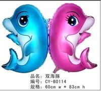 Double dolphin style aluminum balloon decoration balloon dolphin balloon