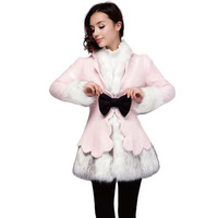 Free Shipping 2013 New  Winter Pink Petals Slim Fur Collar Woolen Overcoat Women Outerwear Bow Coat Ruffles S,M,L,XL RG1312602