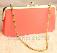15 magic candy colors hotselling long gold chain fashion women's silicone wallet make up bag change purse girl's small bag