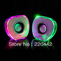 HOT! Mini computer speakers with 2.0 sound channels and shining lamps,free shipping