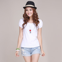 Female lantern sleeve t-shirt o-neck puff sleeve summer white t shirt slim basic shirt
