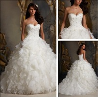 Free shipping FR\754 Elegant A-Line Sweetheart Beaded Lace Organza White/Lvory Wedding Dress Custom-made