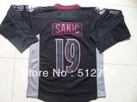 Free Shipping,Wholesale Ice Hockey Jersey, #19 Joe Sakic Ice Black Hockey jersey,Embroidery logos,size 48-56,mix order