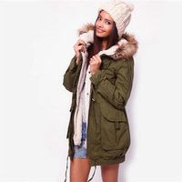 Faux Fur Lining Women's Fur Hoodies Army Green Coats Winter Warm Long Coat Jacket