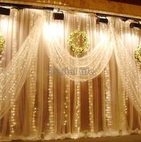HOT 2014 3Mx3M 400LED Outdoor Christmas xmas String Fairy Wedding Curtain Light With Tail Plug EU/220V Warm White TK1198*