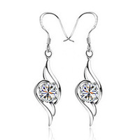 NEW 2013 Fashion Brand 925 Sterling Silver Fashion Drop Earrings with AAA Swiss Zircon for Women E069,Free Shipping